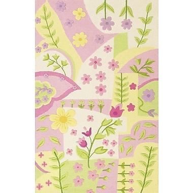 KAS Rugs Kidding Around Princess Dreams Pink/Green Area Rug; Round 3'