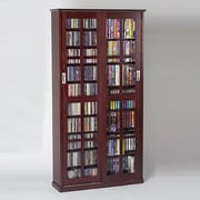 Leslie Dame Glass Door Multimedia Cabinet; Dark Cherry