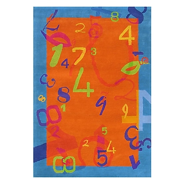 Dynamic Rugs Fantasia Orange/Blue Number Area Rug; 7'6'' x 9'10''