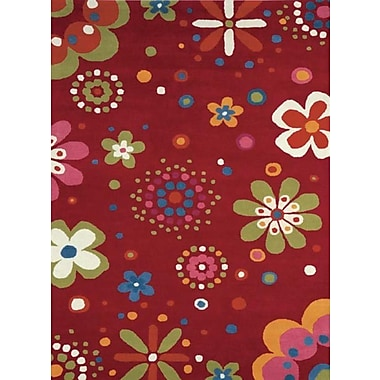 Dynamic Rugs Fantasia Fan Girls Birght Red Area Rug; 3' x 5'