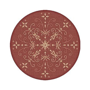 Dynamic Rugs Piazza Red Indoor/Outdoor Area Rug; Round 5'3''