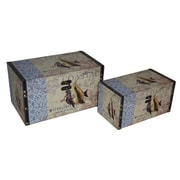 Cheungs 2 Piece Vinyl Coastal Themed Keepsake Box Set