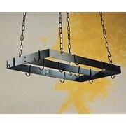 Rogar Gourmet Ceiling Mount Pot Rack with Centerbar; Black/Black hooks