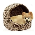 Best Friends By Sheri Doggy/Kitty Hut Bed; Brown Zebra Print