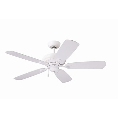 Emerson Fans 52'' Transitional Avondale 5 Blade Ceiling Fan; Satin White with Satin White Blades