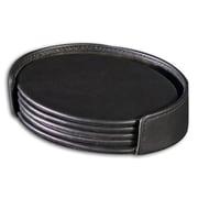 Dacasso 1000 Series Classic Leather Four Oval Coaster Set with Holder in Black