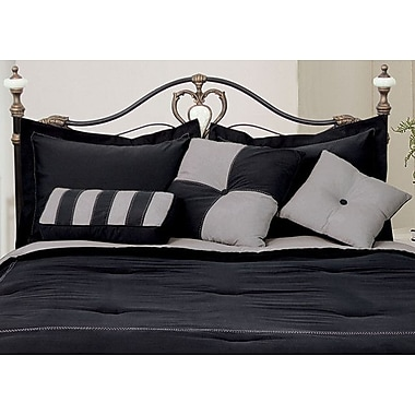 LCM Home Fashions, Inc. 3 Piece Throw Pillow Set; Black / Gray