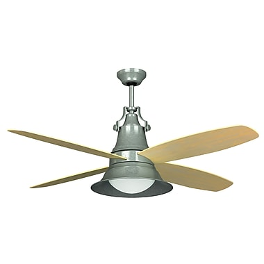 Craftmade 52'' Union 4 Blade Ceiling Fan w/Wall Control and Remote; Galvanized w/Light Oak Blades