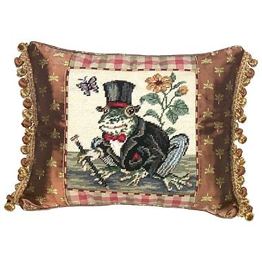 123 Creations Whimsical Frog Gentleman Needlepoint Wool Lumbar Pillow