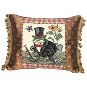 123 Creations Whimsical Frog-Gentleman Needlepoint with Fabric Trimmed Wool Lumbar Pillow