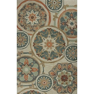 KAS Rugs Anise Mosaic Tan Area Rug; 5' x 7'6''