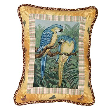 123 Creations Tropial Parrot Petit Point w/ Trimmed Wool Lumbar Pillow