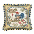 123 Creations Country Rooster 100pct Wool Needlepoint Pillow