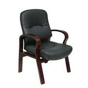 Office Star Leather Visitors Chair with Wood Base and Arms; Mahogany