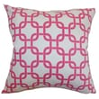 The Pillow Collection Qishn Geometric Cotton Pillow; White Candy Pink