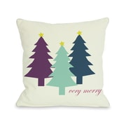 One Bella Casa Very Merry Christmas Trees Reversible Throw Pillow; 16'' H x 16'' W
