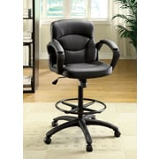 Hokku Designs Ebony Mid-Back Leatherette Conference Chair with Arms