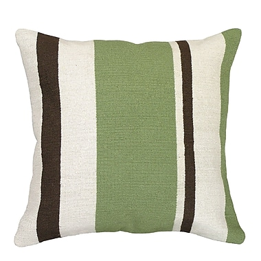 123 Creations Graphic Stripes Needlepoint Wool Throw Pillow; Green / Brown Staples