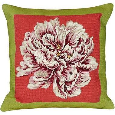 123 Creations Floral Peony Needlepoint Wool Throw Pillow; Green / Pink