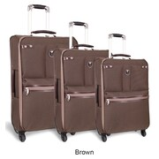 J World Centennial 3 Piece 4 Wheels Expandable Luggage Set; Brown