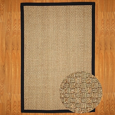 Natural Area Rugs Seagrass Lancaster Black Area Rug; 4' x 6'