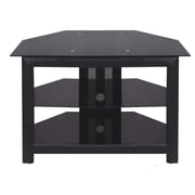 Hazelwood Home 32'' Corner TV Stand; Black Glass