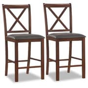 Leick Crossback Bar Stool with Cushion (Set of 2); 25''