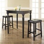 Crosley 3 Piece Counter Height Pub Table Set; Black