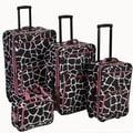 Rockland 4 Piece Luggage Set; Pink Giraffe