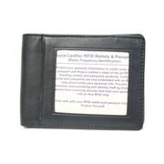 Royce Leather RFID Blocking Double ID Flat Fold Wallet; Black