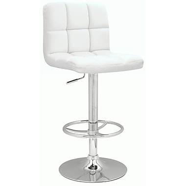 Chintaly Adjustable Height Swivel Bar Stool; White PU