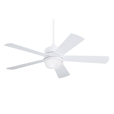 Emerson Fans 52'' Atomical 5 Blade Fan; Appliance White with White Glass Blades