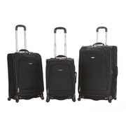 Rockland Fusion 3 Piece Monte Carlo Spinner Luggage Set; Black