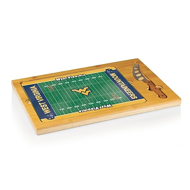 Picnic Time NCAA Football Icon Cutting Cheese Tray; West Virginia University Mountaineers