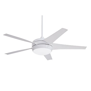 Emerson Fans 54'' Midway Eco 5 Blade Ceiling Fan with Remote; Appliance White with White Blades