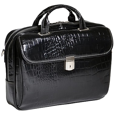 Siamod Monterosso Servano Leather Laptop Briefcase; Black