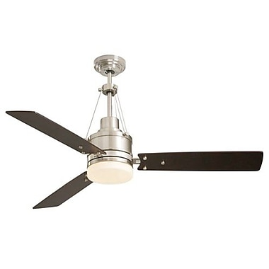 Emerson Fans 54'' Highpointe 3 Blade Ceiling Fan; Brushed Steel with Dark Mahogany Blades