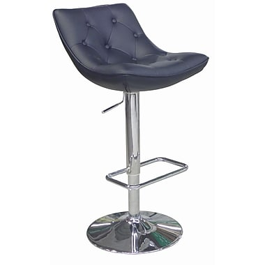 Whiteline Imports Cindy Adjustable Bar Stool with Cushion; Black