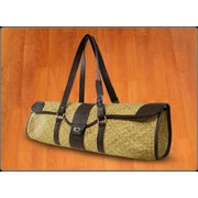 Crescent Moon St.Tropez Yoga Bag in Natural with Brown Leather Trim