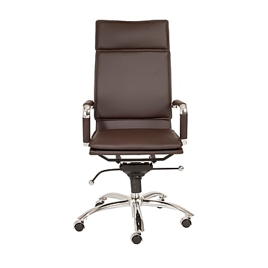 Eurostyle Gunar Pro High-Back Leatherette Office Chair with Arms; Brown