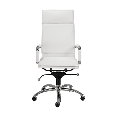 Eurostyle Gunar Pro High-Back Leatherette Office Chair with Arms; White