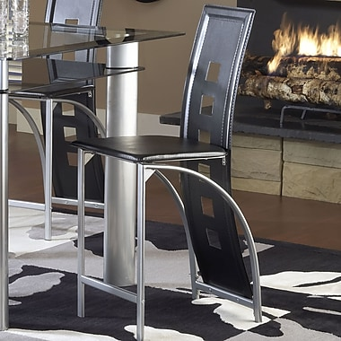 Bernards Astro Bar stool (Set of 4); Black/Silver