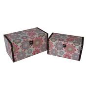 Cheungs 2 Piece Flat Top Keepsake Boxes with Kaleidoscope Design Set