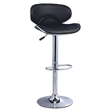 Pangea Home Phil 24'' Adjustable Bar Stool  (Set of 2); Black