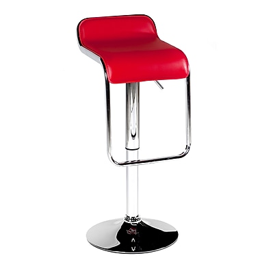 Pangea Home Milo Adjustable Height Bar Stool (Set of 2); Red