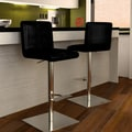Bellini Modern Living Georgio Adjustable Swivel Bar Stool with Cushion; Black