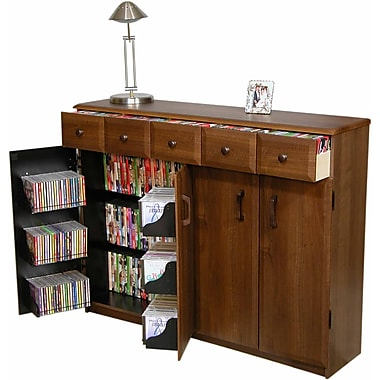 Venture Horizon VHZ Entertainment Multimedia Cabinet w/Library Style Drawers; Dark Walnut and Black