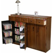 Venture Horizon VHZ Entertainment Multimedia Cabinet w/ Library Style Drawers; Dark Walnut and Black