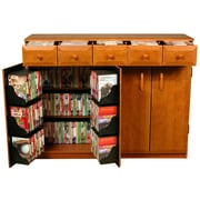 Venture Horizon VHZ Entertainment Multimedia Cabinet with Library Style Drawers; Cherry and Black