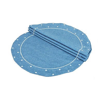 Xia Home Fashions Polka Dot Embroidered Easy Care Placemat (Set of 4); Chambray